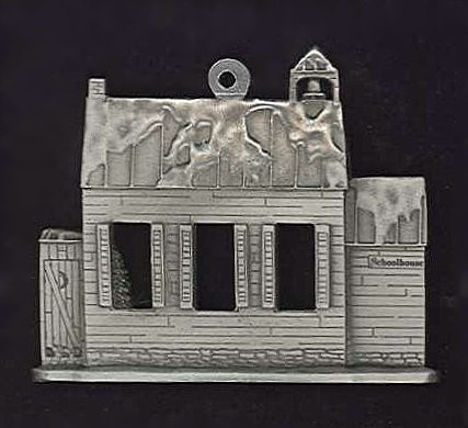 Pewter Christmas Ornaments - 2 - Sided Pewter Christmas Buildings ...