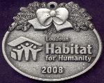 custom pewter ornament - Habitat For Humanity - front view
