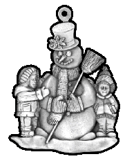 Children Making Snowman pewter Christmas ornament